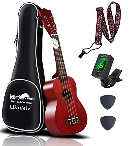 Mahogany Soprano Ukulele Starter Kit - Professional 21 inch w/Case Strap Tuner Aquila Strings (Heavy Mahogany)