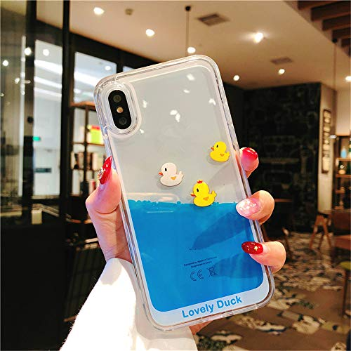 Liquid Case for iPhone Xs, 3D Creative Aquarium Swimming Couple Ducks Dynamic Flowing Lovely Rubber Duckies Liquid Hard Case for Apple iPhone Xs/iPhone X (Three Duck) (Fish And Water Iphone Case)