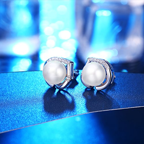 J.Rosée Freshwater Cultured Pearl Earrings, Stud Earrings with 925 Sterling Silver and 5A Cubic Zirconia, Jewelry Gifts for Women Girls by J.Rosée (Image #7)