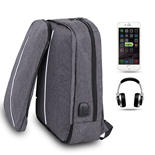 AFBEST Laptop Backpack,Business Anti Theft Laptop Waterproof Backpack with USB Charging Port & Headphone Fits Under 17 Laptop & Notebook (Grey)
