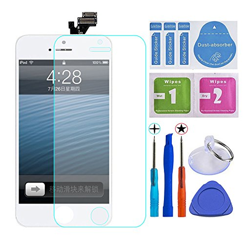 iphone 5 sceen lcd touch screen and Tool sleeve Replace broken / dead pixels / no touch / old screen etc (4.0 inches White) (Replace Screen)