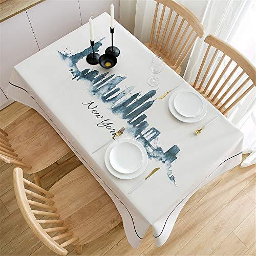 Fansu Blanco Impermeable Antimanchas Mantel para Mesa Rectangular, Nordico Simple Ciudad de Impresion Prueba de Polvo Mantel Adecuado para Decorar Cocina Comedor Salon (140x180cm,Nueva York)
