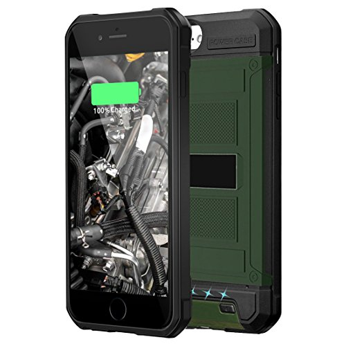 Kujian iPhone 7 Battery Case Slim Heavy Duty External Charging Case 3000mAh Full Protective TPU Bumper Rugged Juice Pack for Apple iPhone 8/7/6/6S 4.7inch (Olive Green x Black,4.7