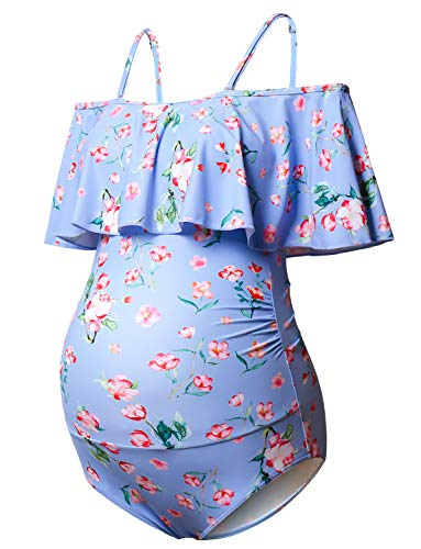 (Maternity Bikinis Tankini Floral Flouncing Swimsuit One Piece Beachwear Blue with Pink Flower)