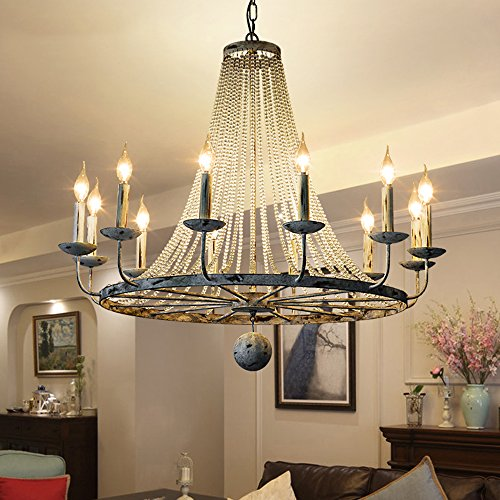 Jiuzhuo Rustic Vintage Candle Style Crystal Bead Strands Metal Wheel Large Chandelier Lighting Hanging Ceiling Fixture,Distressed White (12-Light)