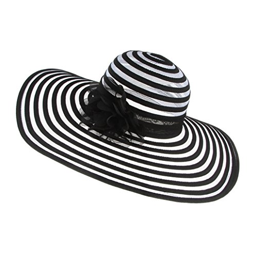 Striped Wide Brim Beach Hats for Women, Floppy Flower Sun Hats -