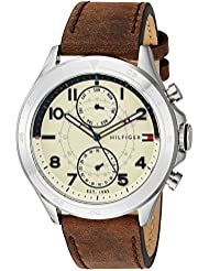 Tommy Hilfiger Mens Quartz Stainless Steel and Leather Casual Watch, Color:Brown (Model: 1791344)