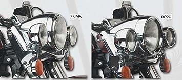 FLHS e Road King dal 1983 al 2014/e modelli FLST con struttura faro in alluminio dal 1986 al 2004 Ghiera Faro 7 Frenched cromata Per modelli FLHT