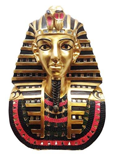 Large Egyptian Pharaoh King Tut Golden Bust Mask Statue Tutankhamun Figurine