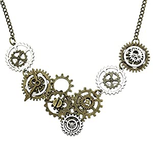 RechicGu Vintage Gold & Silver Watch Clock Clockwork Hand Gear Cog Steampunk Necklace