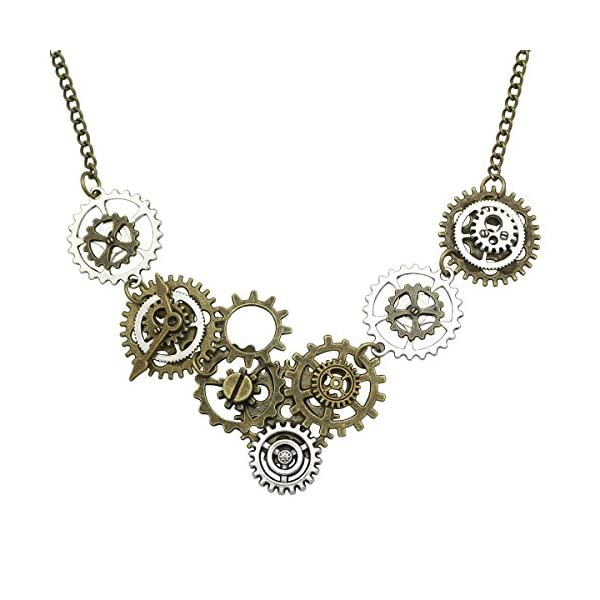 RechicGu Style A Watch Clock Clockwork Hand Gear Cog Steampunk Necklace Vintage Gold and Silver 3