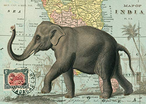 Elephant on Map of India Vintage Poster Print 20