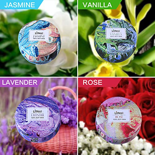 Scented Candles Jasmine, Vanilla, Lavender, Rose Naturals Soy Wax Protable Travel Tin Candle for Aromatherapy,Set of 4 by Litrest (Image #1)
