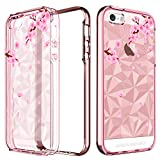BENTOBEN Protective Floral Phone Case for Apple iPhone SE/5S/5, Slim Clear Heavy Duty
