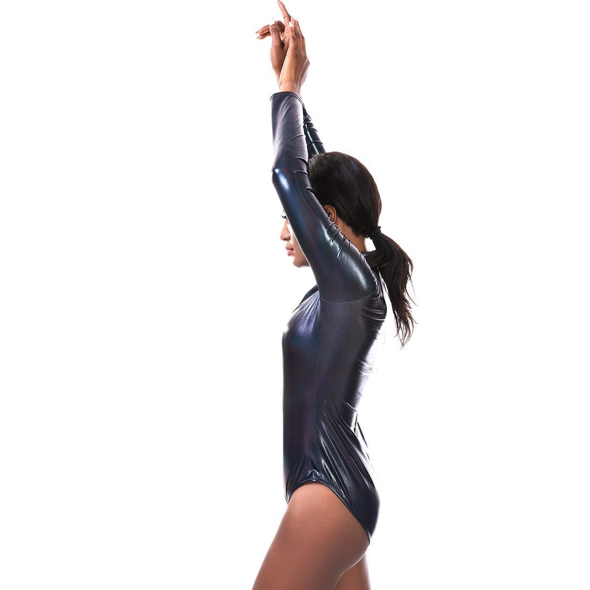 Maillot de Ballet para Mujer Lycra, Cuello Alto, Metal IBAKOM