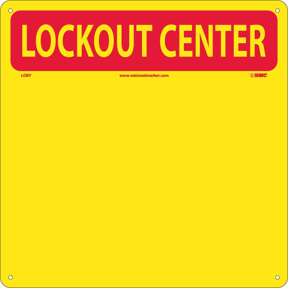 NMC LOB1Y 10 Piece Lockout Tagout Center Kit with Hooks and Supplies, 14'' Width x 14'' Height, Red on Yellow