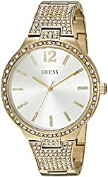 Guess Women's U0900l2 Dressy Gold-tone Watch With Gold Dial , Crystal-accented Bezel & Stainless Steel G-link Band
