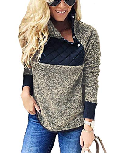 Fantastic Zone Women's Warm Long Sleeves Button Neck Fleece Pullover Coat Sweatshirts - Button Pullover Neck