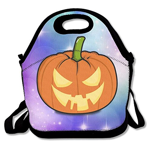 GoldBaoWang Halloween Pumpkin Neoprene Lunch Picnic Bag Insulated Lunch Box Waterproof Lunch Tote with Zipper Strap for Women Kids Boys Girls and Men]()