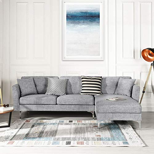 Grey Upholstered Linen Sectional Sofa Couch| Modern L-Shape Sectional, Sectional Sofas and Couches, Sofa Couch with Chaise, for Small/Large Living Spaces, Family Living Room Home Furniture Sectionals