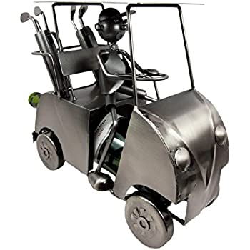 """Atlantic Collectibles Professional Golfer With Golf Cart Hand Made Metal Wine Bottle Holder Caddy Decor Figurine 13.5""""L"""