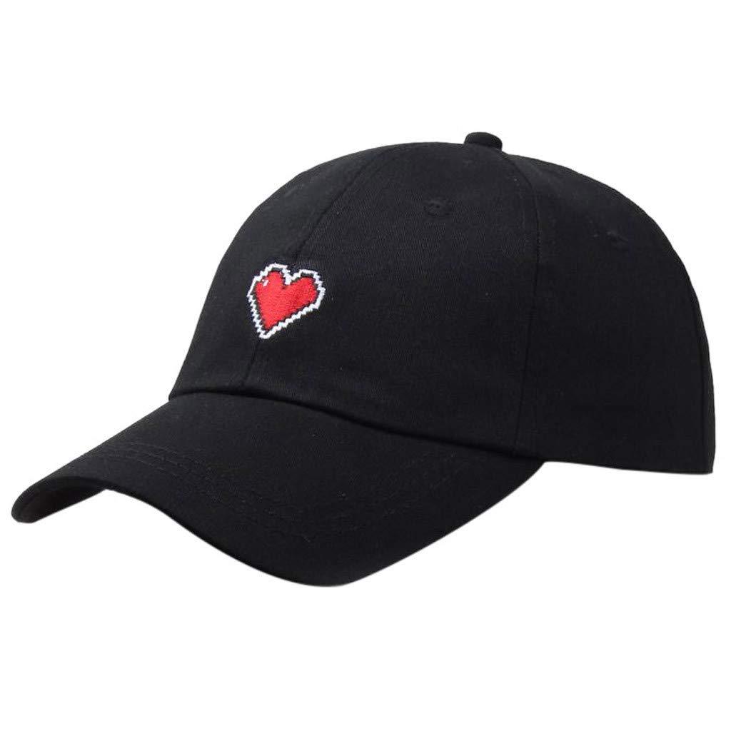 Unisex Summer Outdoors Love Embroidery Visor Baseball Cap Adjustable Hat Dad Hats (Black, Size:Adjustable)