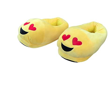 b655a2e71e24 Emojis Slippers Heart Eyes Novelty Unisex Adult Men Women Emoticon Smiley  Heart Eye Winter Plush Indoor Funny Slippers For Girl Boy Size 5 6 7 8 8.5   ...