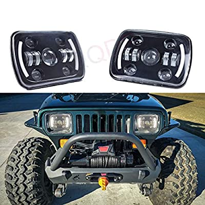 LQQDP 2pcs 7x6 Inch Rectangular Sealed Beam Conversion Kit LED Halo Angel Eye Projector Headlights Assembly Amber Turn Signal White High/Low Beam DRL Daytime Running Lights+H4-H13 Adaptors+Canbus: Automotive
