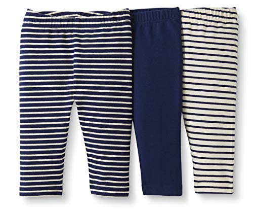 Moon and Back by Hanna Andersson Baby/Toddler Girls' 3-Pack Organic Cotton Legging, Navy, 12-18 months