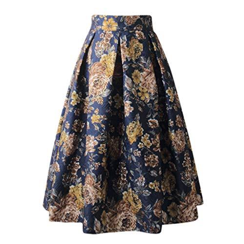 Sunhusing Ladies Casual Side Zipper Waist Mid-Length Pleated Skirt Jacquard Cloth Print Mini Skirt Yellow