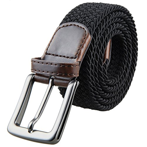Skirt Woven Elastic Waist (Samtree Braided Belts for Men, Elastic Fabric Woven Stretch Web Strap Buckle (40