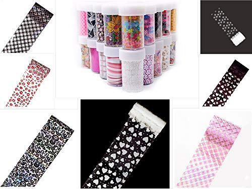 Coloured Foil - S.A.V.I DIY Colored Nail Transfer Foil Sticker Laser Line White Black Flower Lace Decal Nail Art Sticker Wrap Holographic Ethnic Pattern 120CMx4CM (Each) (7PCS 7 Colors)