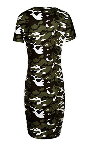 Suvotimo Robe V Femmes Col Mini Camouflage Bodycon L't Robes Green De ZnZawqFYr