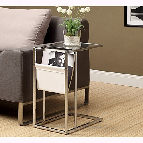 White and Chrome Metal Accent Table and Magazine Holder, Material: Chrome, Glass, Metal