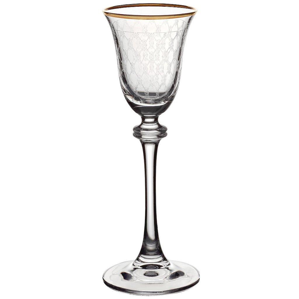 Bicchiere da liquore, bicchiere grappa, bicchiere cristallo ALEXANDRA con bordo oro, tecnica della pantografia, bicchiere cristallo, stile moderno (AMARA DESIGN powered by CRISTALICA)