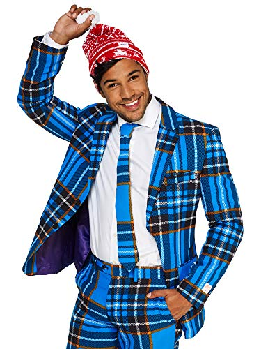 OppoSuits Christmas Suits for Men in Different Prints – Ugly Xmas Sweater Costumes Include Jacket Pants & Tie + Free Beanie for $<!--$99.99-->