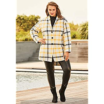 Roamans Women's Plus Size Plaid Car Coat at Women's Clothing store