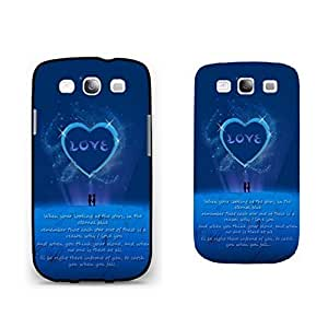 Hipster Blue Glitter Phone Case - Fancy Love Heart Samsung Galaxy S3 Case Cover with Quotes for Girls hjbrhga1544