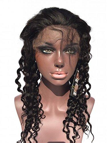 Tejido extensión-Peluca Full lace wig rizada 1B, color negro