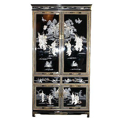 (Oriental Furnishings Oriental Armoire in Black with Mother of Pearl)