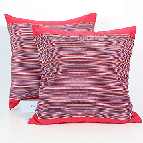 CRJHNS Throw Pillow Covers, Mexican Double Sided Hand-Woven Serape Pillow Case, 100% Cotton Striped Boho Cushion Covers, 18 x 18 inch, Set of 2 (Knitting Patterns The Same On Both Sides)