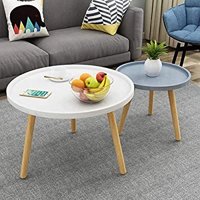 Nice Amazon.com: Living Room Furniture CJC Set Of 2 Tables, MDF Panel Beech  Legs, Round Sofa Side Coffee End Tea, Nesting Multi Purpose (Color :  Gray+White): ...