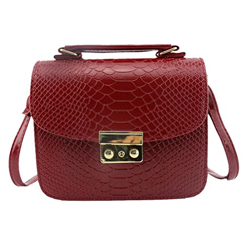SUKEQ Women Fashion Leather Slim Crocodile Embossed Crossbody Shoulder Bags Handbag (Red) -
