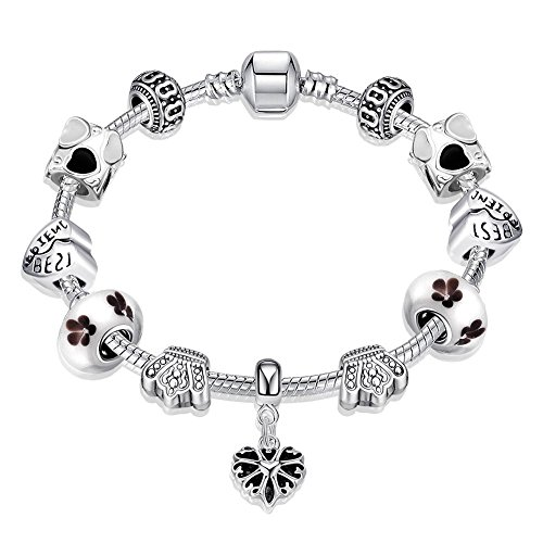 Gorgeous Jewelry White Pandora Glass Beaded Heart Shape Pendant Silver Crystal Hand Bracelet