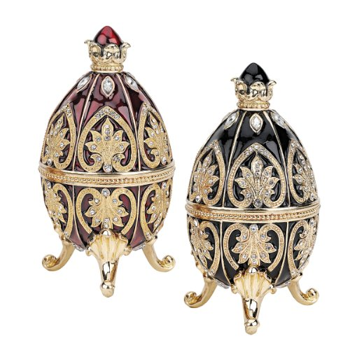 (Design Toscano Alexander Palace Collection: Polotsk and Nevsky Romanov Style Collectible Enameled Eggs, 4 Inch, Set of Two, Pewter, Red and Black)