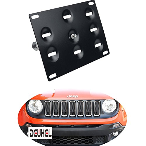 Dewhel Front License Plate Mount Bracket,Bolt-on No-Drill Tow Hole Bolt Adapter For 2015-up Jeep Renegade Latitude, Sport, Limited models (Except Trailhawk)