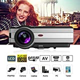 LCD HD Movie Projector Home Theater Outdoor Use,1280x800 Native 1080P LED Video Projeyectors with HDMI USB AV 3.5mm Audio for Home Entertainment Backyard Cinema Game Consoles Computer DVD Blu ray
