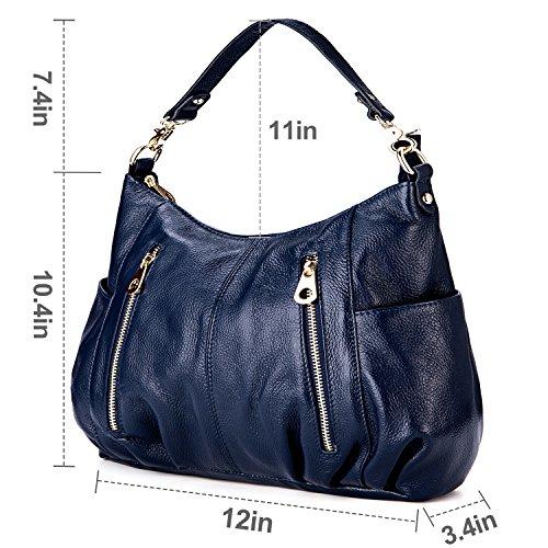 Shoulder Bag Bag Ladies Genuine Crossbody for 4 Handbag GRM Royal Women Hobo Blue Leather nEq6WBfU0