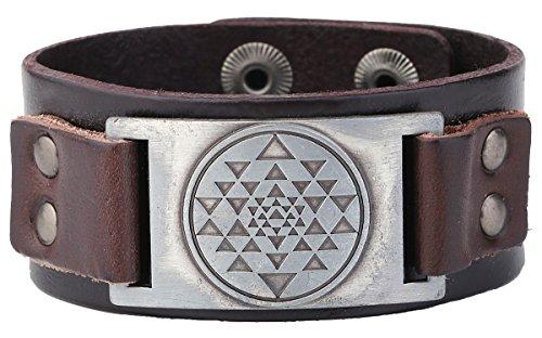 Punk Vintage India Sri Yantra Meditation Metal Connector Cuff Leather Bracelet Amulet Jewelry (brown wristband antique ()