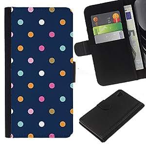 Sony Xperia Z4 / Sony Xperia Z4V / E6508 Modelo colorido cuero carpeta tirón caso cubierta piel Holster Funda protección - Dot Blue Vibrant Pink Teal Navy